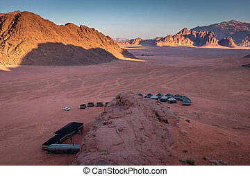 rhum, regarder, camping, jordanie, levers de soleil, désert, oued