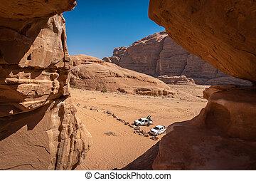 rhum, véhicule, offroad, jordanie, désert, oued