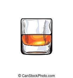 rhum, whisky, verre, cognac, coup, écossais