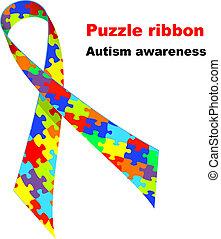 ribbon., autism, conscience, puzzle, symbole.