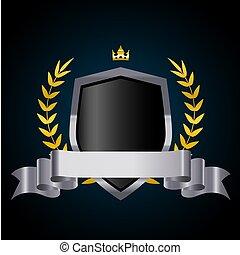 ribbon., bouclier, couronne, couronne, vecteur, laurier, argent, illustration.