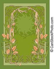 ribbon., deco, art, tulipes, vecteur, gabarit, affiche
