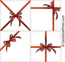 ribbon., ensemble, cadeau, arrière-plans, vecteur, rouges