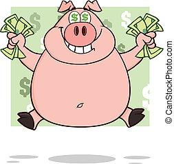 riche, dollar, yeux, sourire, cochon