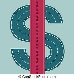 richesse, concept, financier, route, design.