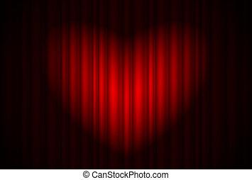 rideau, étape, forme coeur, projecteur, grand, rouges