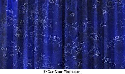 rideau bleu, hd, ouverture