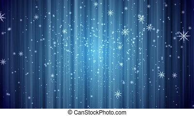 rideau bleu, neige, fond