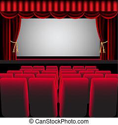 rideau, chaise, salle, cinéma, rouges, facile