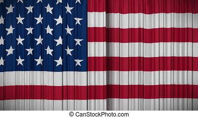 rideau, drapeau, fermer, usa, ouverture