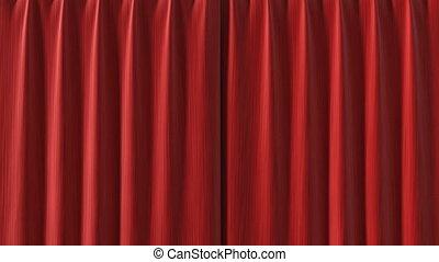 rideau, rouges, hd, ouverture