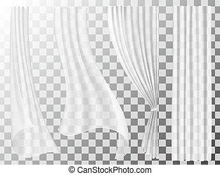 rideaux, ensemble, transparent