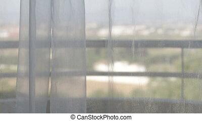 rideaux, mouvement, fenêtre., vent, vue
