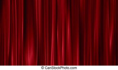 rideaux, ouvert, rouges