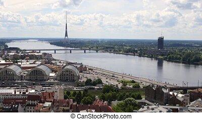 riga, top., vue, vieux, footage., ville, hd, européen