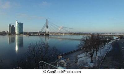 riga, vue, rivière, aérien, vansu, pont