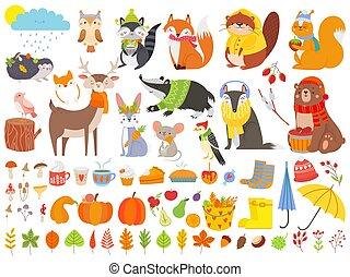 rigolote, écureuil, ensemble, fox., feuilles, automnal, ours, animals., automne, vecteur, mignon, forêt, automne, baissé, dessin animé