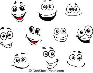 rigolote, émotif, ensemble, dessin animé, faces