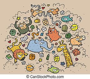 rigolote, animaux, illustration., dessiné, objects:, main, vecteur, illustration, mode!, eps10, composition