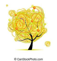 rigolote, arbre, jaune, conception, ballons, ton