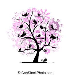 rigolote, arbre, oiseaux, conception, chant, ton