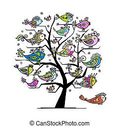 rigolote, art, arbre, conception, poissons, ton