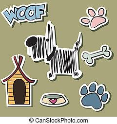 rigolote, autocollant, ensemble, chien, accessoire