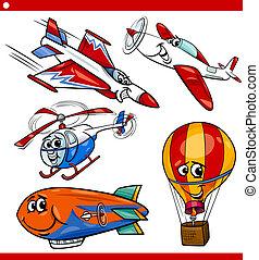 rigolote, avion, véhicules, ensemble, dessin animé