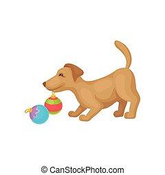 rigolote, balle, coloré, brun, pet., chien, plat, jouer, toys., vecteur, conception, petit, maison, chiot, noël, fur.