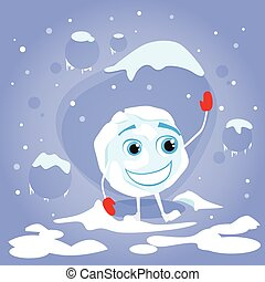 rigolote, balle, hiver, caractère, boule de neige, gants, rire, dessin animé, rouges