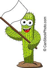 rigolote, caractère, isolé, dessin animé, drapeau, blanc, cactus, supporter