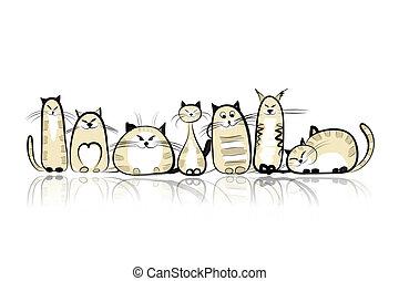 rigolote, chats, conception, ton, famille