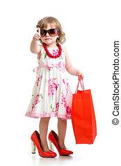 rigolote, chaussures, elle, accessoires, maman, girl, essayer, rouges, gosse