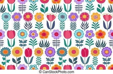rigolote, coloré, modèle, seamless, arrière-plan., vecteur, fleurs blanches