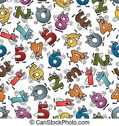 rigolote, coloré, modèle, seamless, nombres, dessin animé