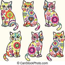 rigolote, coloré, pattern., seamless, cats., clair, vecteur