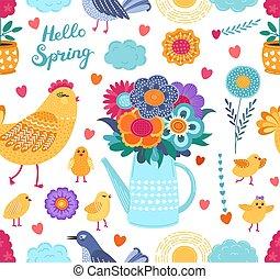 rigolote, coloré, printemps, seamless, arrière-plan., vecteur, modèle, fleurs blanches, oiseaux