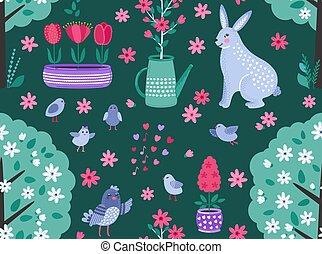 rigolote, coloré, printemps, seamless, fleurs, arrière-plan., vecteur, lapin, modèle, sombre, oiseaux