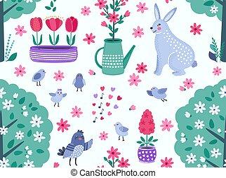 rigolote, coloré, printemps, seamless, fleurs, vecteur, modèle, rabbit., oiseaux