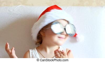 rigolote, concept, magie, claus, santa, enfant, noël., hat.