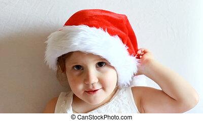 rigolote, concept, magie, claus, year., santa, enfant, nouveau, hat., noël