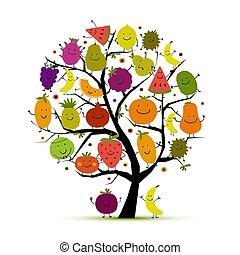 rigolote, conception, arbre, ton, fruits