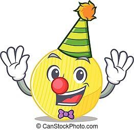 rigolote, conception, clown, pomme terre, dessin animé, caractère, chips, mascotte