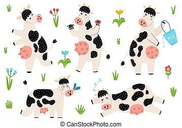 rigolote, courant, tacheté, ensemble, debout, dormir, vaches