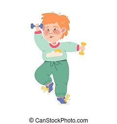 rigolote, couvert taches rousseur, dumbbells, vecteur, illustration, exercice, physique, garçon, athlète