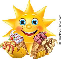 rigolote, crèmes, délicieux, soleil glace