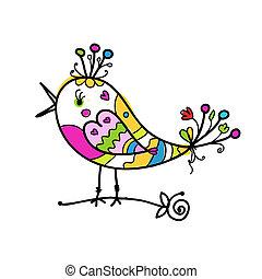 rigolote, croquis, coloré, stylique oiseau, ton