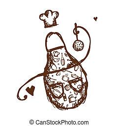 rigolote, croquis, tablier, ustensiles, conception, ton, cuisine