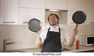 rigolote, danse, cuisine, jeune, quoique, séduisant, maison, homme, cuisine