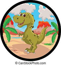rigolote, dessin animé, dinosaure